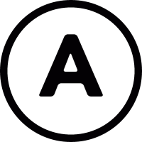 Letter A inside a circle vector