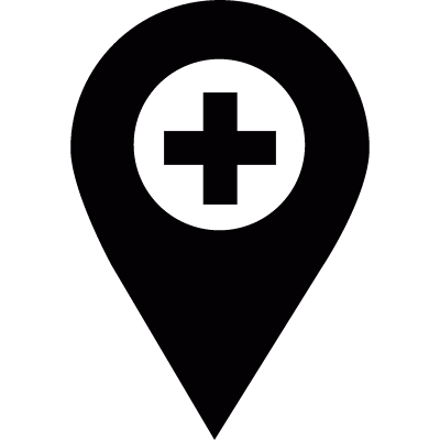 Pharmacy location pointer vector logo